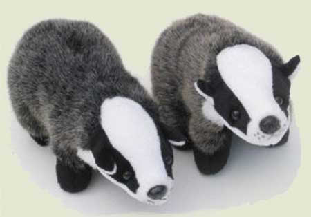 Soft Toy Pair of Badgers by Dowman